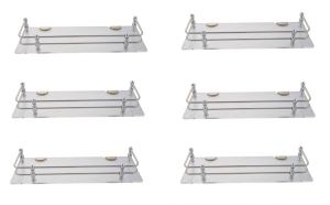Mercebull - 15x5 Inch Clear (transparent) Acrylic And Stainless Steel Framed Wall Shelf - Combo Of 6