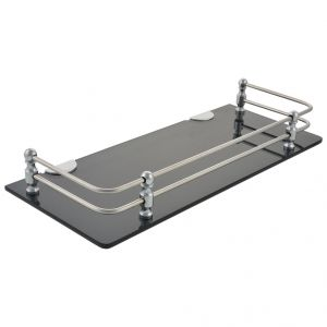 Mercebull - 15x5 Inch Black Acrylic And Stainless Steel Framed Wall Shelf - Combo Of 5