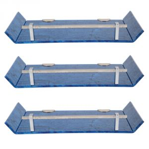 Mercebull 12x5 Inch Blue Marble Desisgned Acrylic Wall Shelf - Combo Of 3