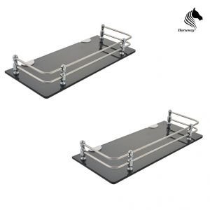 Mercebull - 12x5 Inch Black Acrylic And Stainless Steel Framed Wall Shelf - Combo Of 2