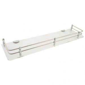 Mercebull - 18x5 Inch Clear (transparent) Acrylic And Stainless Steel Framed Wall Shelf