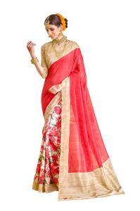 Urban Vastra Silk Sarees - Urban Vastra Red Bhagalpuri Silk Womens Saree (code - 18795)