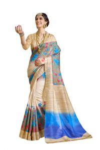 Urban Vastra Silk Sarees - Urban Vastra Beige Bhagalpuri Silk Womens Saree (code - 18798)