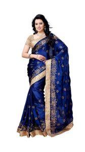 See More Chiffon Sarees - See More Women Blue Satin Chiffon Saree