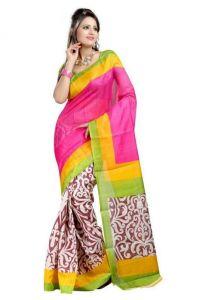 Riti Riwaz Designer Sarees - Riti Riwaz Elegant Bhagalpuri Saree With Floral Pattern Print Aw15bs-sr038