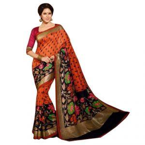 Kalazone Cotton Sarees - Kalazone Orange Cotton Casual Wear Saree - (product Code - Es1131)
