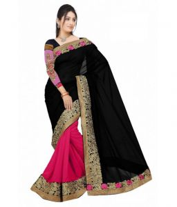 Shopeezo Party Wear Black & Pink Color Georgette Saree/sari