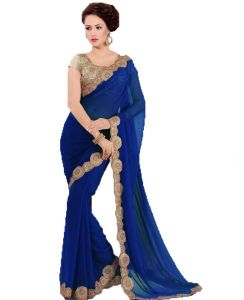 Georgette Sarees - Bhavna creation's designer georgette saree with embroided blouse piece-priyanka_blue