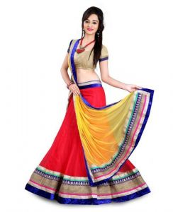 Lehenga sarees - Metroz Designer Red And Yellow Georgette Lehenga Choli - Astrd404