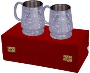 Inindia Traditional Silver Plated 2 Piece Coffee/wine Mug Set