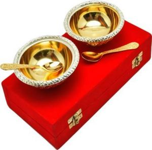 Inindia Gold Plated Bowl And Spoon Set