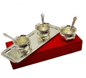 Inindia Pure Silver Plated Snack Bowl Set