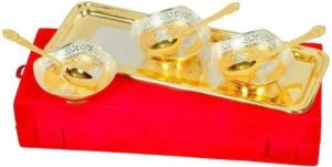 Inindia Gold And Silver Plated Tray And Bowl Set