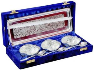Inindia Silver Plated Apple Designer Spoon,bowl And Tray Set