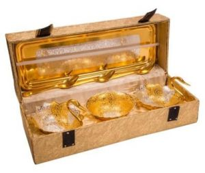 Inindia Pure Gold Plated Swan Shaped Spoon And Tray Set