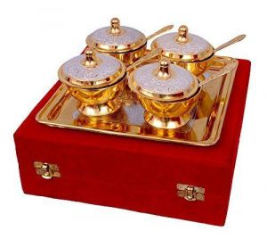Inindia Inindia Unique Gold Plated Mouth Freshener Bowl Set
