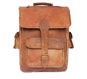 Inindia Brown Handmade Vintage Satchel Leather Rucksack Backpack - Unisex