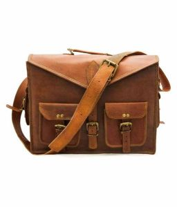 Inindia Elegant Brown Leather Office Messenger Bag (12inch*16inch