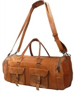 Inindia Leater Travel Duffel Bag 26 Inch/66 Cm (expandable) (brown)