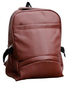 Inindia School/college Office Pu Leather Backpack - Royal Brown ( Shiny Finish)