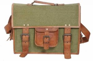 Inindia Stylish Style Icon Leather Messenger Bag (green, Brown)bag_13*18inch