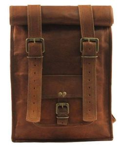 Inindia Unisex Brown Pure Leather Casual Use Backpack (bag_11*15inch