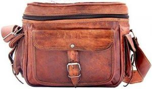 Inindia Vintage Leather Brown Travel Camera Bag - Men & Women