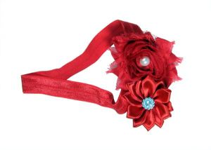 Inindia Red Robust Two Flower Cute Hair Band For Baby