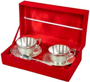 Inindia Silver Plated 2 Cup Plate And Spoon Set