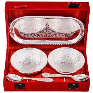Inindia Silver Plated 2 Flower Bowl Set With Spoon And Tray