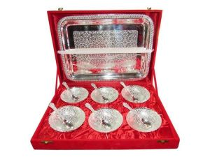 Brass Handicrafts - ININDIA  Silver Plated  Bowl Set, Serving Bowl Set Of 6