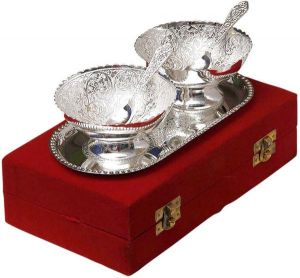 Inindia Silver Plated Brass Bowl With Tray Set Of 5 Pieces