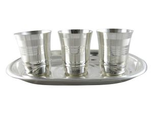 Inindia Silver Plated Glass Set With Tray ( 3 Glasses)