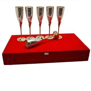 Inindea Silver Plated Royal Brass Wine Glass Set Of 6