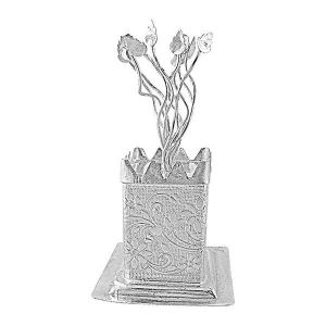 Brass Handicrafts - ININDIA  Silver Plated Tulsi Plant With Cabinet