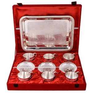Inindia Silver Plated 6 Cup Plate Set With Tray ( 13 In 1)