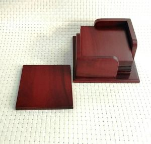 Table covers - Merahomestore 6 pcs wooden tea coaster along with holder