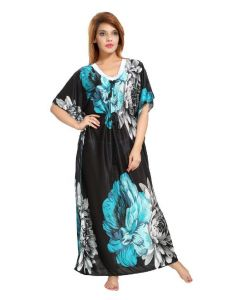 Sleep Wear For Women (Misc) - DILJEET SATIN KAFTAN NIGHTGOWN (Code-DIL-K-GR)