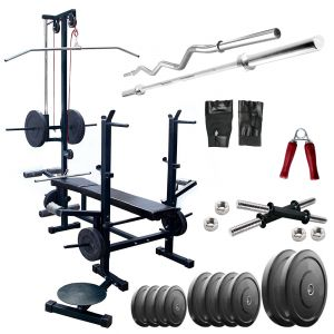 Gym Equipment (Misc) - Diamond Multipurpose 20 IN 1 Bench with 24Kg Weight and 3Ft Curl 5Ft Plain Rod For Wellness