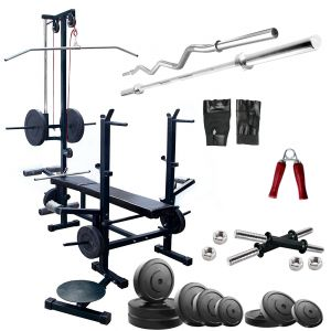 Gym Equipment (Misc) - Diamond 20 IN 1 Bench Home Gym Machine With 22Kg Weight 3Ft EZ 5Ft Straight Rod