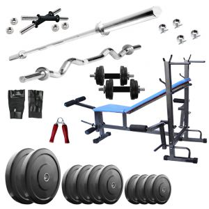 Gym Equipment - Diamond Bodybuilding  8 IN 1 Bench with 80KG weight 3Ft Curl 5Ft Plain Rod For Intense Workout