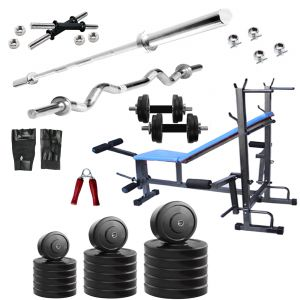 Weight Machines - Diamond Bodybuilding  8 IN 1 Bench with 70KG weight 3Ft Curl 5Ft Plain Rod For Intense Workout