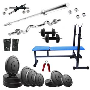 Gym Equipment (Misc) - Diamond Multipurpose 3 IN 1 Bench with 24Kg Weight and 3Ft Curl 5Ft Plain Rod For Wellness