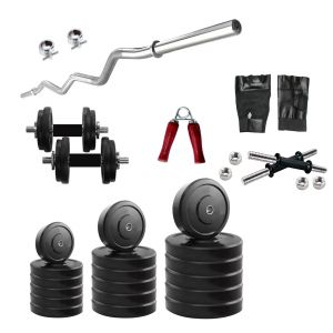 Gym Equipment (Misc) - Diamond Home Gym of 18Kg Weight With 3FT Curl Bar & Accessories For Strengtht & Fitness