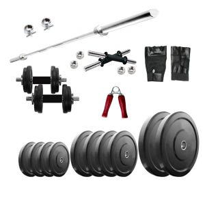 Gym Equipment (Misc) - Diamond Weightlifting Package of 60Kg Weight with 5FT Plain Rod For Perfect Health & Fitness