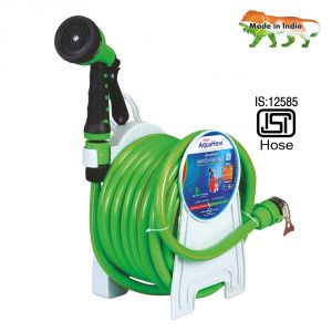 "Hardware, Tools - AquaHose Household Water Hose Reel Green 7.5mtr 12.5mm(1/2"") - 25' (Fixed Type) Hose Pipe"