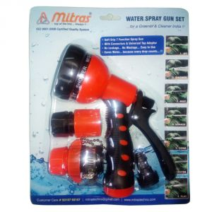"Mitras Water Spray Gun Set 12.5mm (1/2"") Red With Tap Adapter"