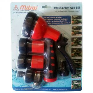 "Mitras Water Spray Gun Set 20mm (3/4"") Red With Tap Adapter"
