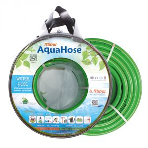 "AquaHose Water Hose (12.5mm ID) (1/2"") - 50 Ft. (15 Mtr) ISI Marked Green Hose Pipe"