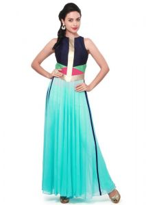 Pushty Fashion Turquoise Georgette Long Kurti 3010